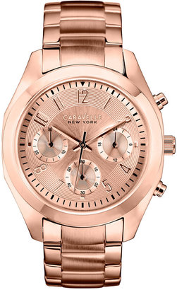 Caravelle New York by Bulova Women's Chronograph Rose Gold-Tone Stainless Steel Bracelet Watch 36mm 44L115 $175 thestylecure.com
