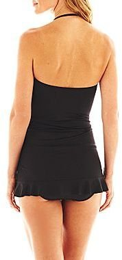 JCPenney a.n.a Shirred Bandeau 1-Piece Swimdress