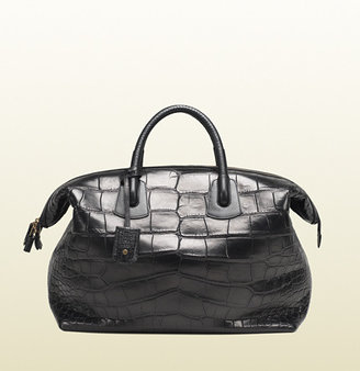 Gucci Black Crocodile Carry-On Duffle Bag