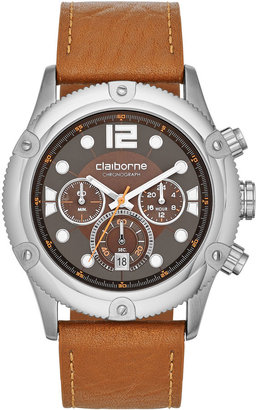 Claiborne Mens Silver-Tone Brown Leather Strap Chronograph Watch