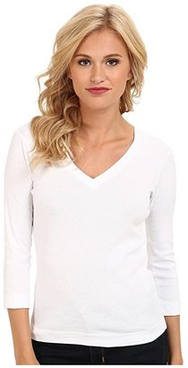Three Dots 100% Cotton Heritage Knit 3/4 Sleeve Deep V-Neck