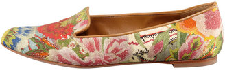 Alexander McQueen Floral-Print Cotton Smoking Slipper