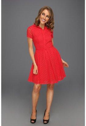 BCBGMAXAZRIA Dasha Fit and Flare Dress (Lipstick Red) - Apparel
