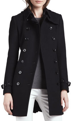 Burberry Wool-Blend Trench Coat, Black