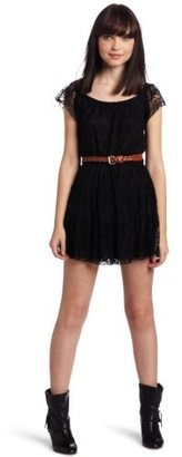 My Michelle Juniors Lace Dress With Woven Pleather Belt