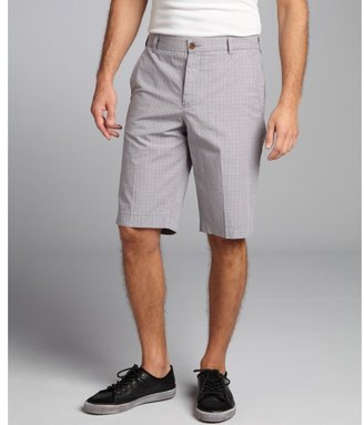 French Connection gunmetal plaid cotton 'Golden Wales' flat front shorts