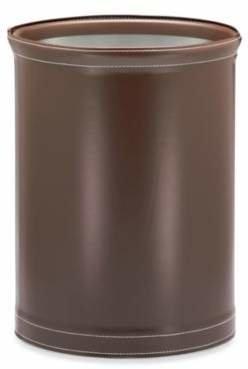 Kraftware Stitch 13-Inch Oval Wastebasket in Brown