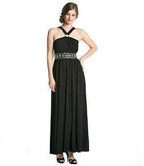 R & M Richards RM Richards Beaded Ring Long Halter Dress