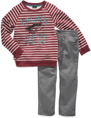 Calvin Klein Jeans Set, Little Boys Feed Stripe Top and Twill Pants Set