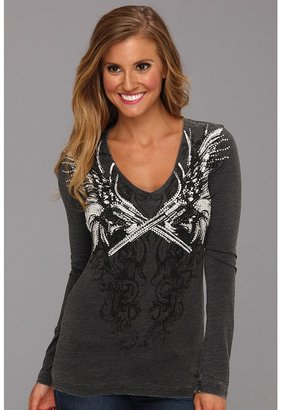 Rock and Roll Cowgirl - Gunslinger Long Sleeve Tee (Black) - Apparel