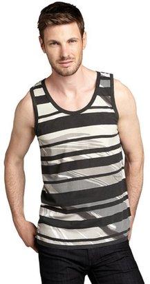 X-RAY Jeans black and tan stripe cotton pocket tank top
