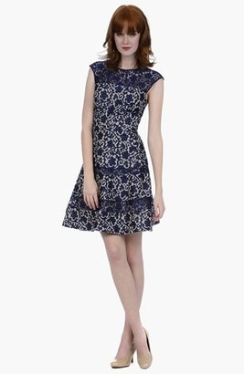 Kay Unger Lace Fit & Flare Dress