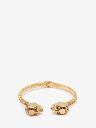Alexander McQueen Jewelled Twin Skull Bangle