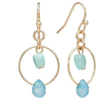 Lauren Conrad heart bead hoop drop earrings