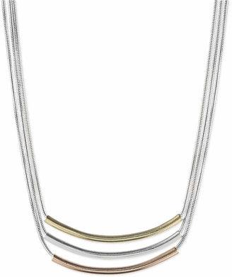 Nine West Tri-Tone Triple Bar Pendant Necklace