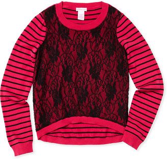 Design History Striped & Lace Sweater, Pink