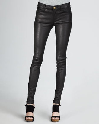 Current/Elliott The Skinny, Zip-Cuff Leather Leggings, Black