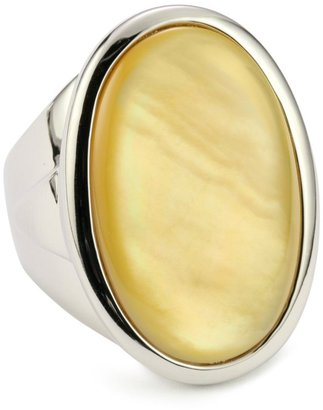 ELLE Jewelry Yellow Mother Of Pearl Oval Sterling Silver Ring