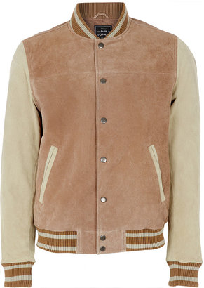 Topman Stone Suede Tipped Bomber Jacket