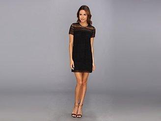 Juicy Couture Women's Linear Guipure Short Sleeve Dress