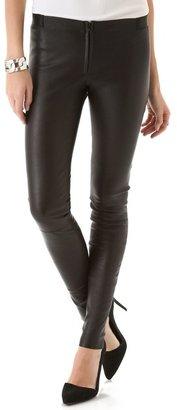 Alice + Olivia Front Zip Leather Leggings