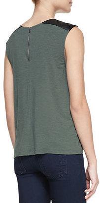 Alice + Olivia Leather-Shoulder Slub Top