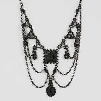 Charlotte Russe Black Ornate Necklace