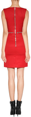 David Koma Curved Neck Dress in Red