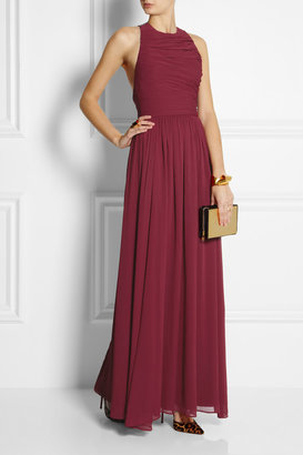 Alice + Olivia Runie leather-trimmed crepe maxi dress