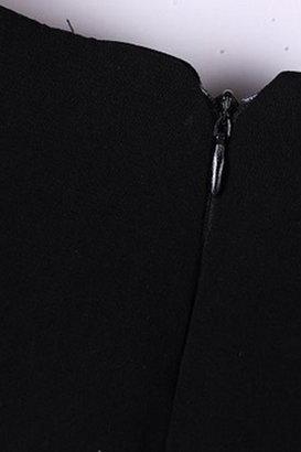 Romwe Beauty Poster Print Long Sleeves Black Dress