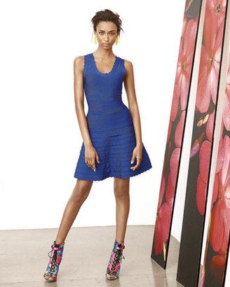 Herve Leger Scallop-Trim A-Line Bandage Dress, Blue Sapphire