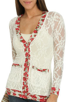 Wet Seal WetSeal Long Lace Floral Cardigan Ivory