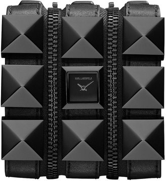 Karl Lagerfeld Women's Black Ion-Plated Stainless Steel Stud and Black Leather Triple Strap Watch 18mm KL2001
