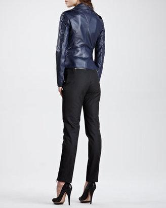 McQ by Alexander McQueen Peplum Leather Moto Jacket, Marine Blue