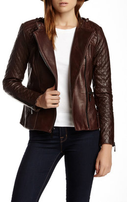 Vince Camuto Quilted Moto Genuine Leather Jacket $650 thestylecure.com