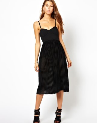 Motel Louise Dress with Sheer Stripe Overlay