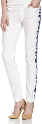 Rebecca Minkoff Skinny Jeans with Embroidered Legs, White/Indigo