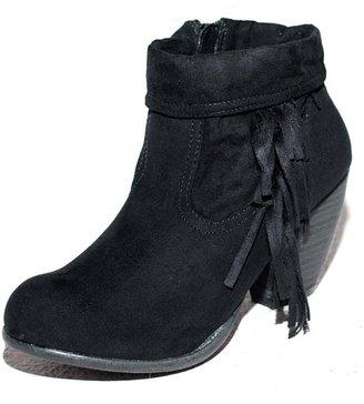 E.m. West Coast Wardrobe West Coast Wardrobe Give 'em the Boot Fringe Bootie in Black