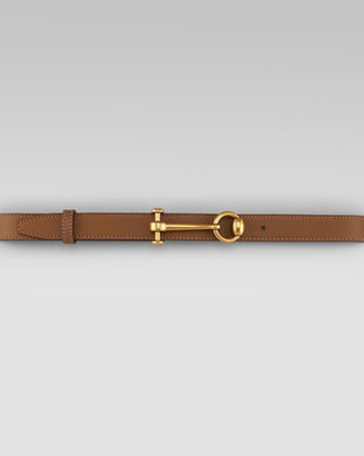 Gucci Round-Buckle Leather Belt, Acero
