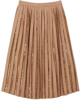 Burberry Crystal Detail Plisse Soleil Wool Silk Blend Skirt
