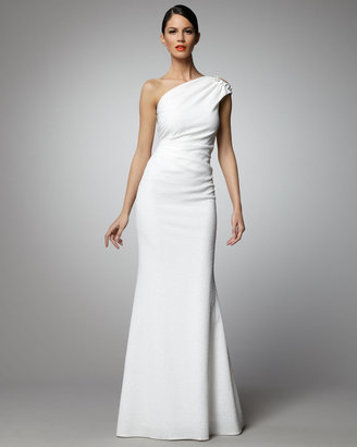 David Meister One-Shoulder Chain-Detail Gown