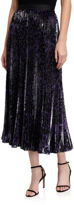 Diane von Furstenberg Brett Pleated Metallic Midi Skirt