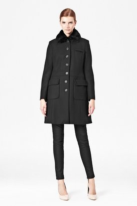 French Connection Glorious Wool Faux Fur Collar Coat