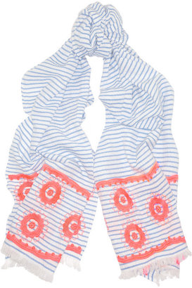 J.Crew Embroidered striped woven cotton scarf