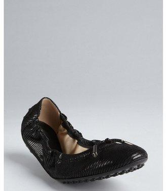 Tod's Black textured suede tasseled ballet flats