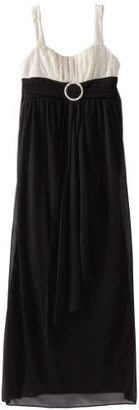 Ruby Rox Girls 7-16 Sequin Top Maxi Dress With Drape Front