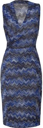 Missoni Metallic Blue Zigzag Knit Dress