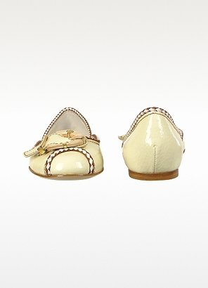 Mario Bologna Buckle Milk Patent Leather Ballerina Flat Shoes