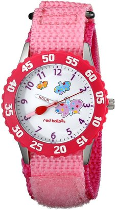 "EWatchFactory Red Balloon Kids' W000182 ""Butterflies Time Teacher"" Stainless Steel Watch with Pink Nylon Band"