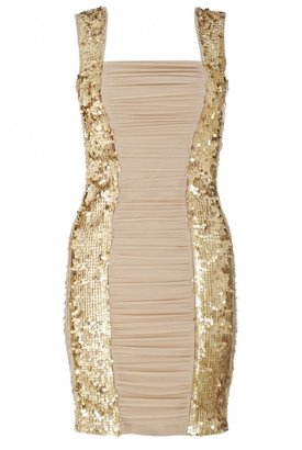 Quiz Champagne Mesh and Sequin Ruched Bodycon Dress